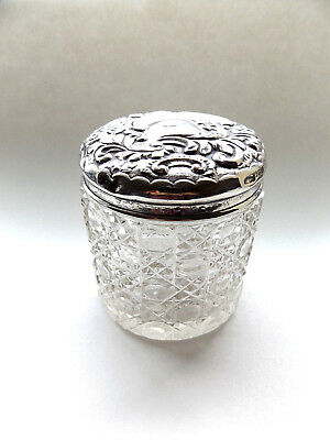 Beautiful Antique Birmingham Solid Silver Topped Cut Glass Vanity Jar Pot.