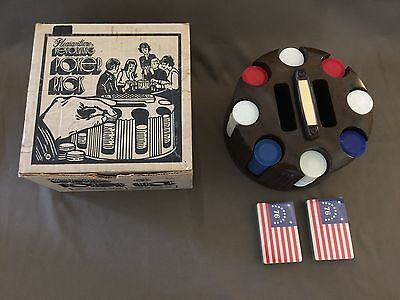 Vintage Revolving Poker Rack Pleasantime 2 NOS 76 Playing cards 202 chip Box USA
