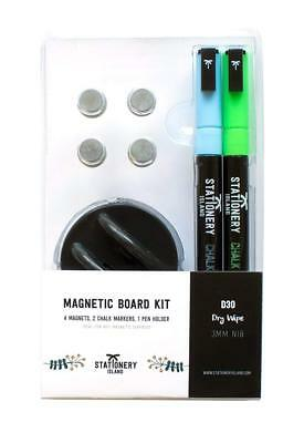 Stationery Island 2 Liquid Chalk Pen Markers 3mm Chalkboard Pens with 4 magnets