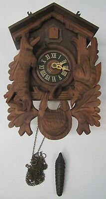 Vtg German Albert Schwab Karlsruhe Black Forest Cuckoo Clock Hunting Parts