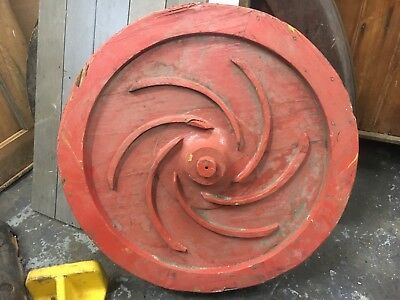 "c1940's shipyard WOODEN factory mold - RED circle w/spiral detail - 23"" diameter"