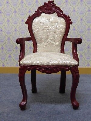 Dolls House Miniature 1:12 Scale Carved Arm Chair Lounge / Study / Bedroom Jiayi