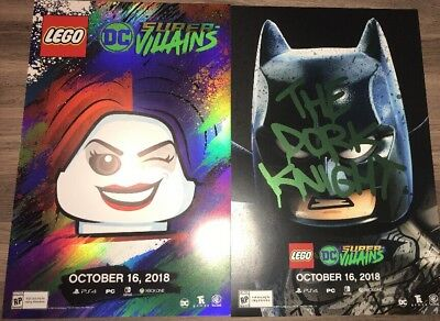SDCC 2018 EXCLUSIVE LEGO DC Super Villains Promo Poster Batman Harley Quinn