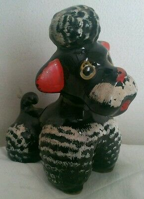 Vtg Post Wwii Made In Japan Black/ White Ceramic Poodle Very Retro Looking