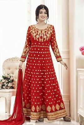 Red Anarkali Embroidered Georgette Salwar. Size 42. New. Free Shipping