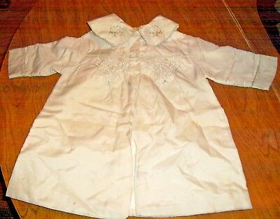 Vintage 1950's Silk Baby Children's CHRISTENING SWADDLING ROBE With Embroidery