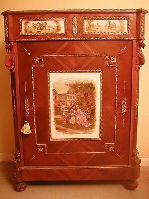 1 Day Sale Antique Country House Side Cabinet Marble Top & Porcelain Panels