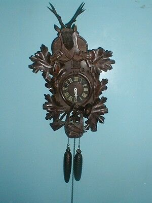 1 Day Sale Bargain Massive Black Forest Antique Cuckoo Clock  Tlc
