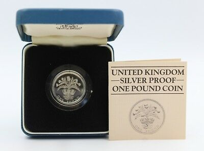 1984 Royal Mint Sterling Silver Proof 1 Pound £1 Coin Scottish Thistle