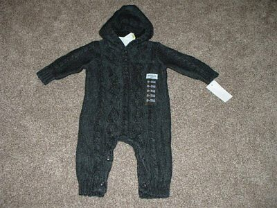 OshKosh Baby Boy Gray Cable Knit Sweater Outfit Size 0-3 months Winter BGosh NWT