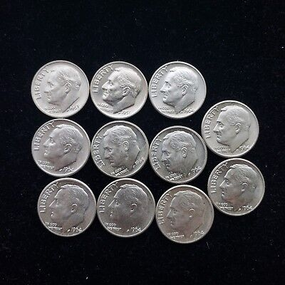 Lot of 11 BU Roosevelt 90% Silver Dimes 10c No Reserve