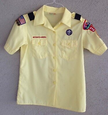 Cub Scouts of America Leader Shirt Yellow Womens M(10-12) Made in USA CAT. 96292