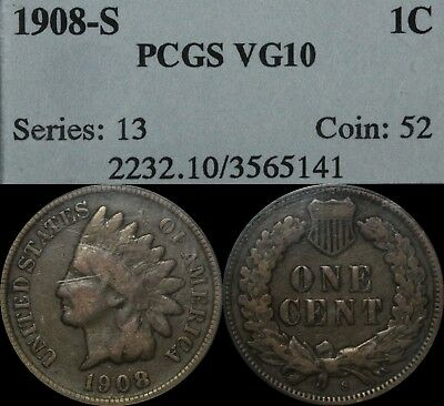 1908 S Indian Head Cent Penny PCGS VG 10