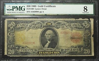 1905 $20 Technicolor Gold Certificate Note PMG VG 08 - FR#1180