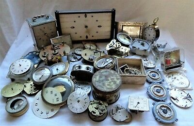 Large Job Lot Antique Vintage Clock Parts for Spares Repairs