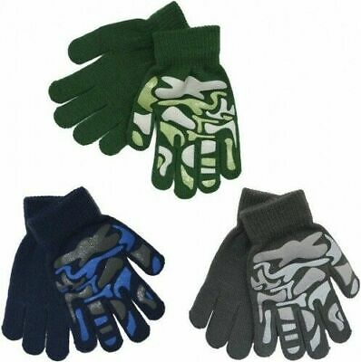 Kids Boys Girls Children's Camouflage Winter Grip Grippy Magic Gloves
