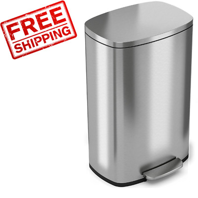 Trash Can iTouchles Stainless Steel Step 8 Gallon 30 Liter Pedal Kitchen Garbage