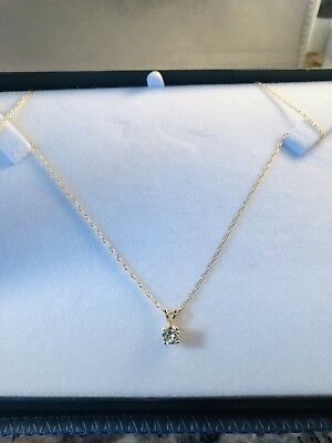 .25ct Round Brilliant Diamond Necklace 14k Gold 18 Inch By Aurafin Signed