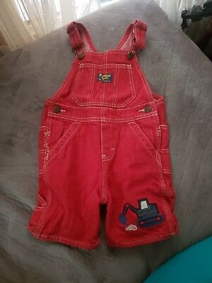 Oshkosh Bgosh Red 24 Months Bib Overalls Red Digger Boys Appliqué Construction