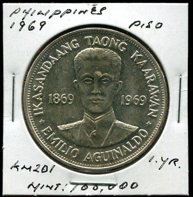 ** Philippines 1969 , Piso Silver ...one Yr....1Oo K.  **