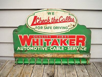 Vintage Whitaker Automotive Battery Cable Display Sign Neat! Gas Oil Station