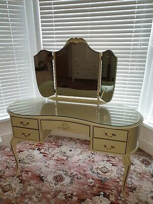 French Louis XV Style Shabby Chic Vintage Dressing Table