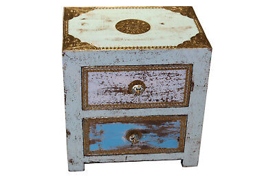 Vintage Old Collectible Mango Wood Brass Knob fitted blue bedside chest Drawer