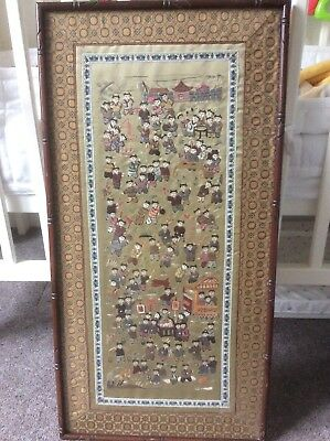 100 / One Hundred Children at play Vintage Chinese Silk Embroidery Asian -Framed