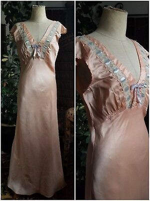 Pink Satin and Lavendar Ribbon 1930s Vintage Bias Lace Slip Dress Antique 30s