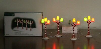 Dept 56 Village Accessories Set of 4 Colored Gumdrop Street Lamps 1 Bulb Out