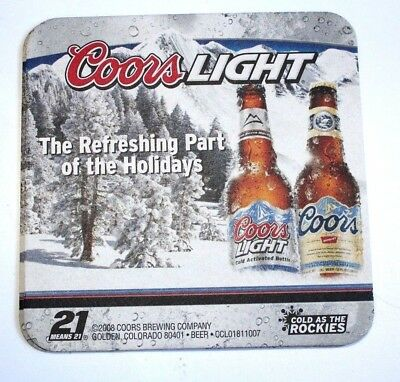 COORS LIGHT the Refreshing Part of the Holidays 2008  4 inch Beer Mat Coaster