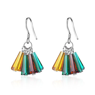 Fashion 925 Sterling Silver Multi-Coloured Crystal Tassel Dangle Hook Earrings