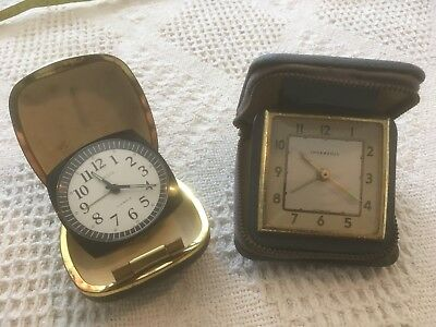 Pair Of Vintage Travel Alarm Clocks Europa Ingersoll