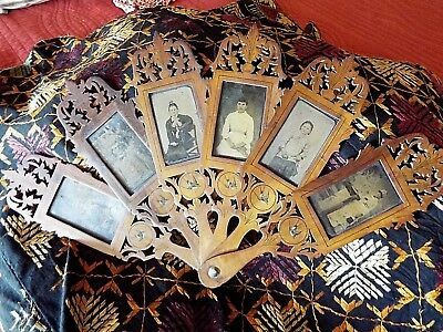 Unusual Circa 1880's Victorian Tin Type Carved Fan - Photo Frame