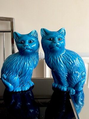 Turquoise Blue Chinese Cat Figurines Statues Pair Early 20th Century Figures