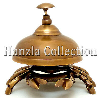 Old Antique Solid Brass Crab Front Desk Retail Counter Bell Call Ringer