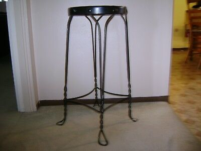 Antique Twisted Wrought Iron W/Oak Seat Ice Cream Parlor Stool-Very Nice