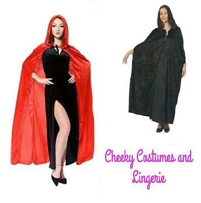 Black or Red Cloak Cape Long with Hood Halloween Dracula Vampire