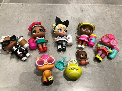 LOL Doll Bundle 7 Items, Coconut QT, Neon QT, Court Champ