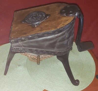 Antique Wood, Iron, & Leather Foot Bellows Industrial Steampunk Iron Primitive