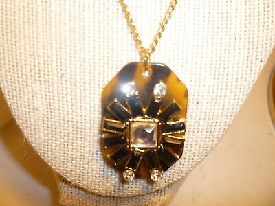 vintage faux tortoise shell and rhinestone pendant long necklace