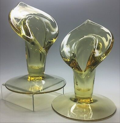 Antique Vintage 1940's Cambridge Glass Mandarin Gold Calla Lily Candle Holders