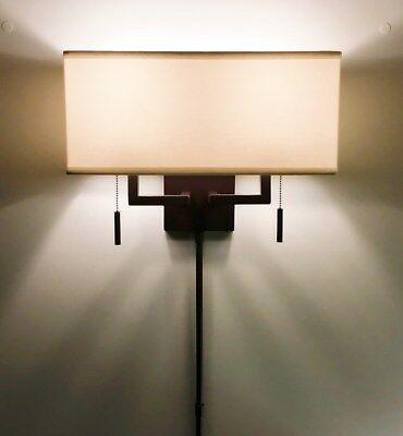 Arch. Bronze Modern Wall Sconce Fixture with Rect. Shade, Hardwire or Plug-In