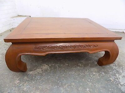 vintage,hard wood,chinese,coffee table,curved legs,carved,oriental,low,table