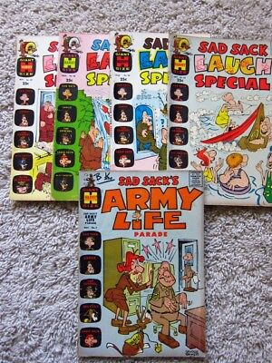 Sad Sack Laugh Special and Army Life #1 Lot of 5 Giant Harvey Comics 1963-1969