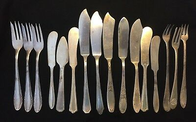 Mixed Lot of 16 Vintage Silverplate Butter Knives Spreaders Cocktail Forks