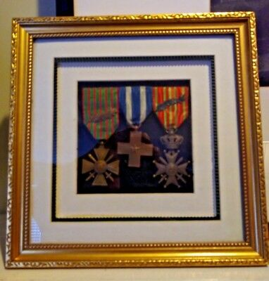 Antique WWI Framed Allied Medals - France - Italy - Belgium