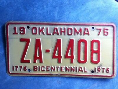 Vintage Old License Plate Oklahoma 1976 Bicentennial Tag