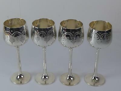 (ref165EW 3) Vintage silver plated goblets set of 4 tall goblets cups chalice