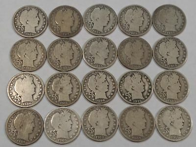 Barber Silver Half Dollar Lot of 20 Mixed Dates & MM 1901 to 1915 View Photos